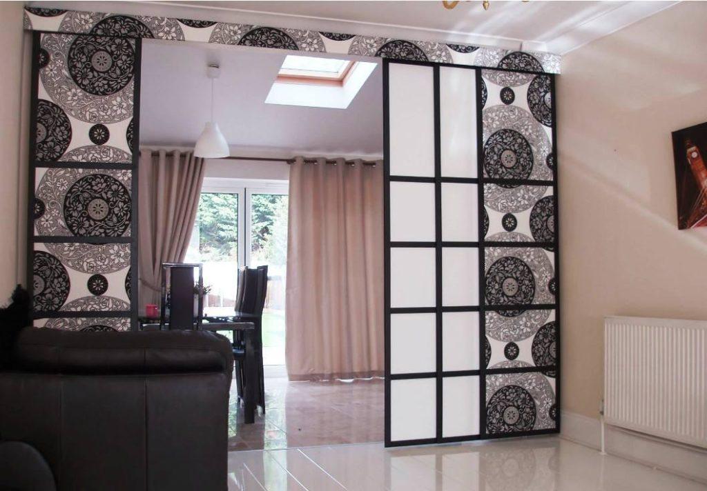 Каркасные тканевые шторы для перегородки