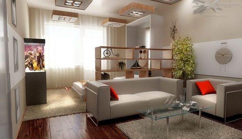 Зонирование комнаты мягкой мебелью