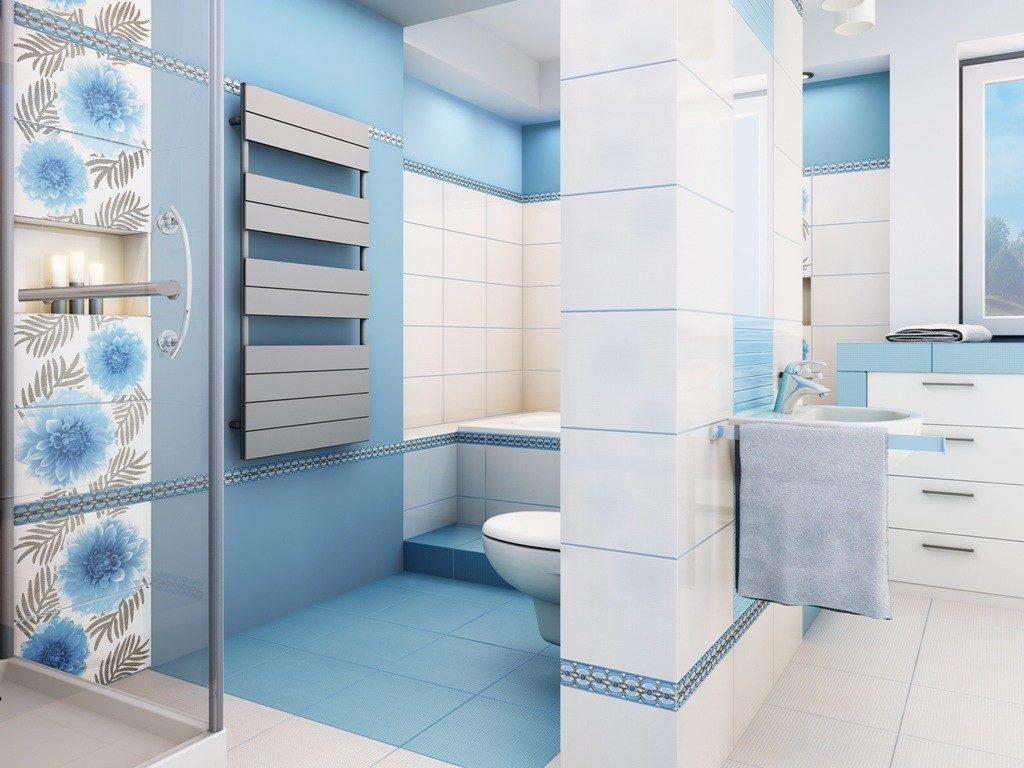 Кирпичная перегородка в ванной с плитки