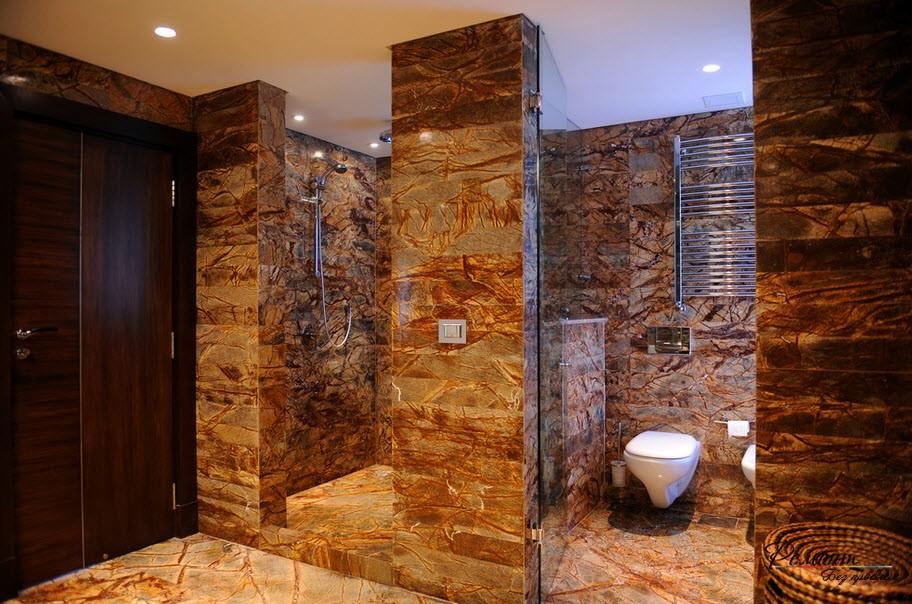 Массивные перегородки в ванной