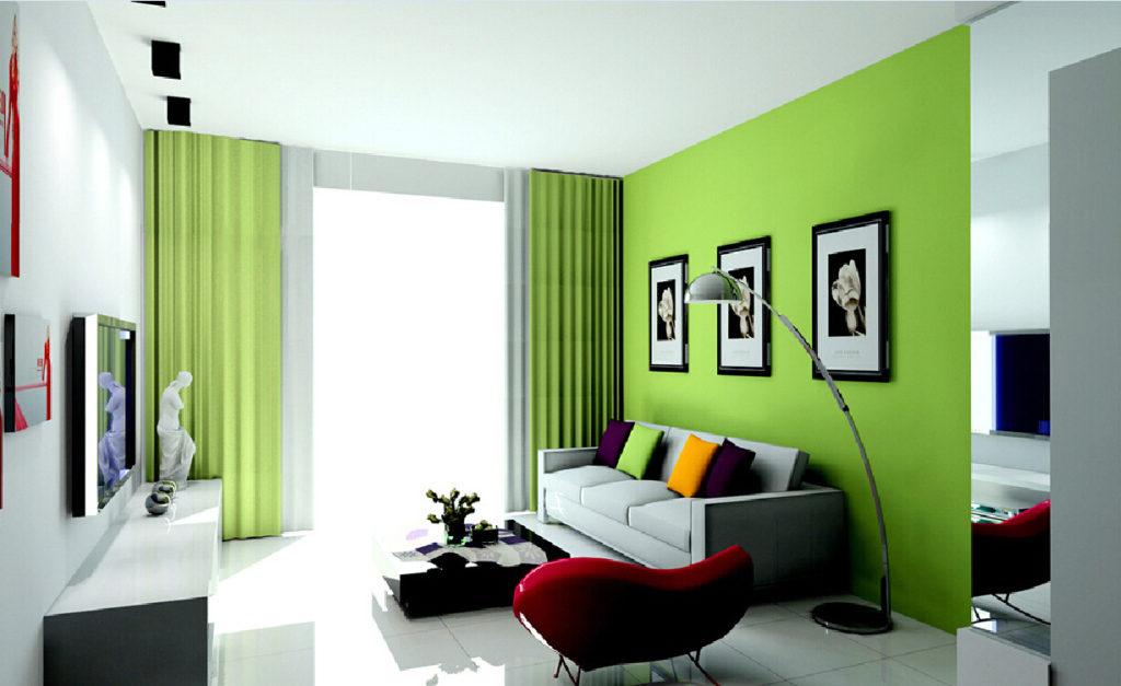 Салатово-белый интерьер комнаты
