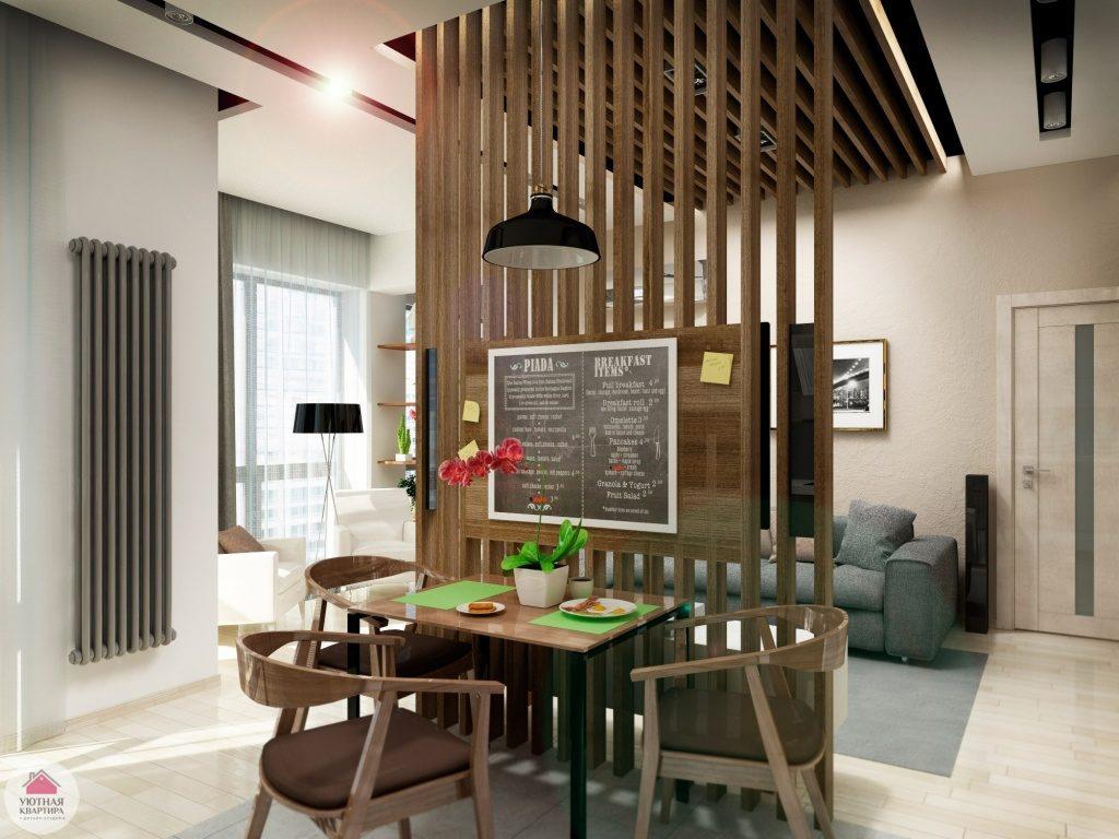 деревянные перегородки для зонирования пространства в комнате